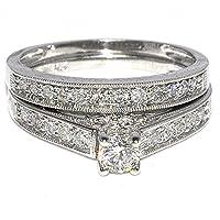0.78ct Wedding Set Two Piece Engagement Ring + Band 10k White Gold Diamond Bridal