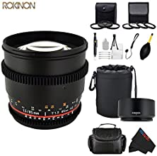 Rokinon CV85M-C 85mm t15 Aspherical Lens for Canon with De-Clicked Aperture amp Follow Focus Compati