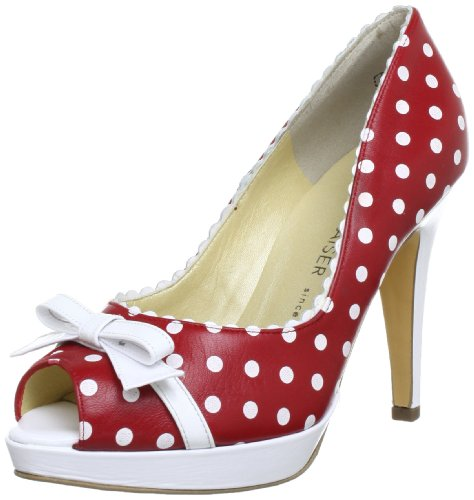 Peter Kaiser PAOLA Plateau Womens Red Rot (ROT DOTS WEISS CRAKLE 688) Size: 39.5