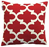 JinStyles Cotton Canvas Quatrefoil Accent Decorative Throw Pillow Cover (Christmas Red, White, Square, 1 Cover for 16 x 16 Inserts)