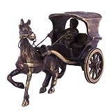 Crafts'man Antique Brown Finish Single Horse Chariot Brass Sculpture