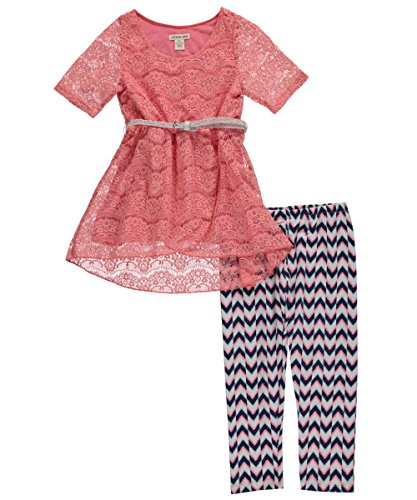 "One Step Up Big Girls' ""Wrapped Lace"" 2-Piece Outfit - peach, 7 - 8"