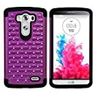 myLife Wine Purple + Black Inside {Diamond Net Design} 2 Piece Hybrid Reflex Case for the LG G3 Smartphone (Outer Rubberized Fit On Protector Shell + Internal Silicone SECURE-Grip Bumper Gel)