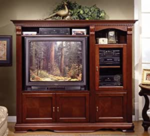Cherry Wood Wall Unit Tv Stand Entertainment Center With Storage Kitchen Home