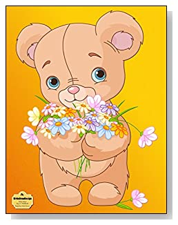 Teddy Bear With Flowers Notebook - Adorable stuffed teddy bear with an armful of wildflowers makes such a cute cover for this wide ruled notebook.