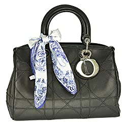 Square Decor Scarf for Bag Soft 100% Silk Blue White Porcelain with Free Gift Box