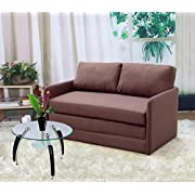 "US Pride Furniture Kathy Reversible 5.1"" Foam Fabric Loveseat and Sofa Bed Couch Sleeper, Brown"