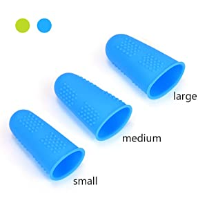Silicone Finger Protectors Covers Caps for Hot Glue Gun Wax Rosin Resin Honey Adhesives Scrapbooking Sewing Crafts Ironing Embroidery Needlework Accessories in 3 Sizes (Small, Medium, Large)-12 Pieces (Color: Yellowish green&Blue)