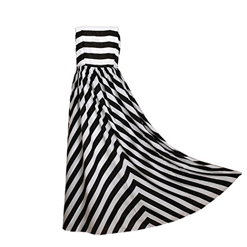 Zeagoo Women'S Sleeveless Black White Zebra Stripes Maxi Long Chiffon Beach Party Dress