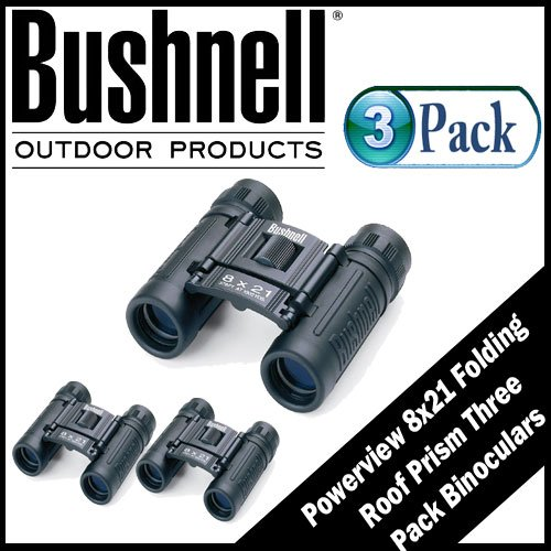 Bushnell Powerview 8X21 Folding Roof Prism Binoculars 3 Pack