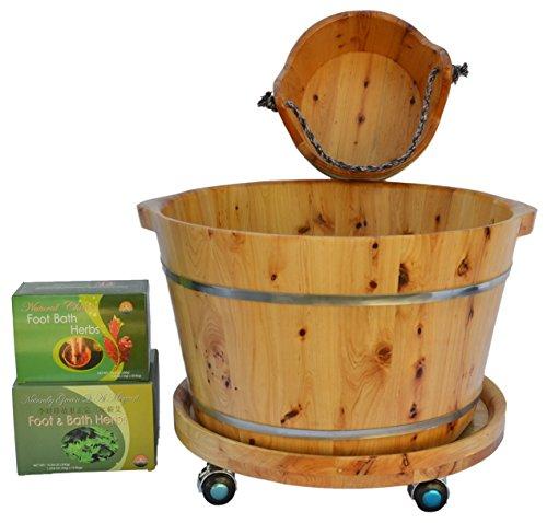 Shine New Arrivals Foot Soak Spa Bundle - 5 items: Cedar Wood Foot Soak Tub, Small Cedar Wood Bucket, Cedar Wood Tub Wheels, Chinese Foot Soak Herbs, Mugwort Bath Herbs (Foot Wood Bath compare prices)