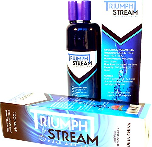Triumph Stream Pure and Clear replacement refrigerator water ice filter | Filter 1 Compatible with Whirlpool W10295370 W10295370A EDR1RXD1 Kenmore 46-9903