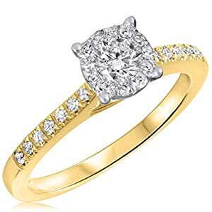 1/2 CT. T.W. Diamond Ladies Engagement Ring 10K Yellow Gold- Size 10.25