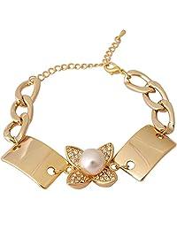Super Drool Pearl And Crystal Embellished Gold Flower Bracelet