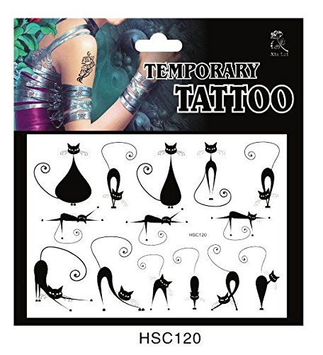 SYZ Beauty Waterproof Temporary Tattoos Cute Cat Tattoos