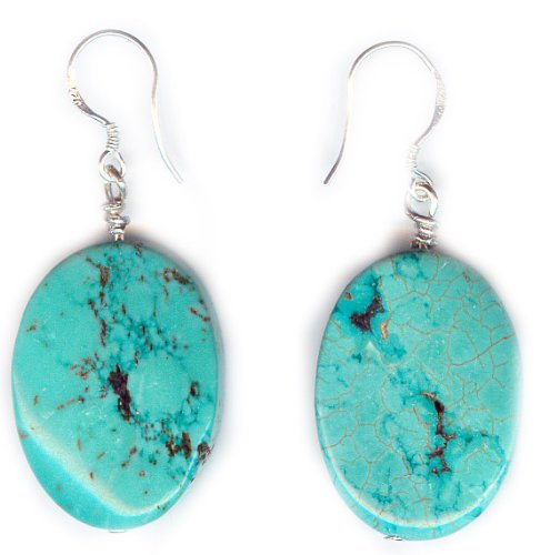 Blue oval turquoise earrings and 925 sterling silver hooks