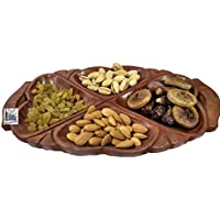 "National Handicrafts 12"" X 6"", 4 Part Dry Fruit Leaf Tray Home Decor Kitchen Dinning Table Serving Fruits Gift..."