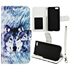 Snow wolf Flip Wallet Apple Iphone 5C Leather Pouch With ID Slot at&t. Verizon