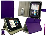 Emartbuy® Purple Stylus + Universal Range ( 8 - 9 Inch ) Purple Multi Angle Executive Folio Wallet Case Cover With Card Slots Suitable for Archos 80 Cobalt 8 Inch Tablet