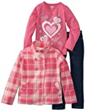 Young Hearts Girls 2-6X 3 Piece Heart Plaid Micro Polar Fleece Set