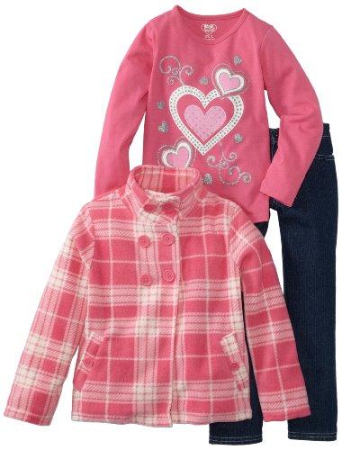 Young Hearts Girls 2-6X 3 Piece Heart Plaid Micro Polar Fleece Set, Dark Pink, 2T