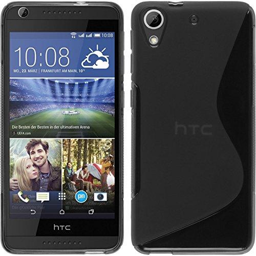 PhoneNatic HTC Desire 626 Hülle Silikon grau S-Style Case Desire 626 Tasche + 2 Schutzfolien