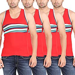 Zippy Men's Android Sleeveless Red Vest (Pack of 4)