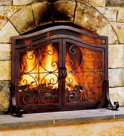 Large 2-Door Finished Tubular-Steel Crest Fire