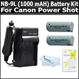 Vivitar 2 Pack Battery And Charger Kit For Canon PowerShot SD4500IS SD4500 ELPH 510 HS ELPH 520 HS, ELPH 530 HS Digital Camera Includes 2 Replacement NB-9L (1000 mAH) Lithium-Ion Battery + Ac/Dc Rapid Travel Charger + LCD Screen Protectors