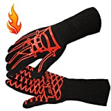 LauKingdom BBQ Grilling Cooking Gloves, Iron Throne 932 °F Extreme Heat Resistant Oven Mitts-14 Long for Extra Forearm Protection (1 Pair)
