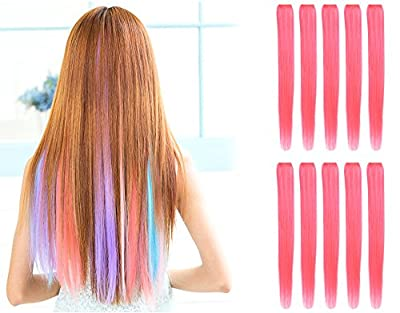 "OneDor® 23"" Straight Colored Party Highlight Clip on in Hair Extensions 12 Multiple Colors"
