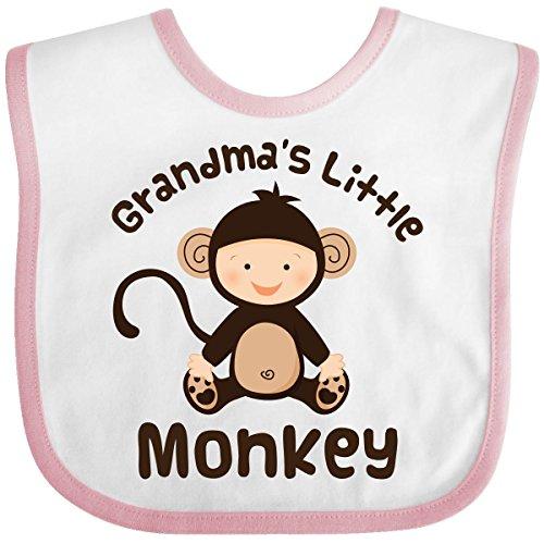 Inktastic Baby Boysâ€Tm Grandma'S Little Monkey Baby Bib One Size White/Pink front-674823