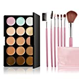 Chinatera Chinatera Cosmetics Professional 15 Colors Contour Face Cream Concealer Camouflage Makeup Palette Set + 7 Pcs Makeup Brush Set with tools Make Up Case