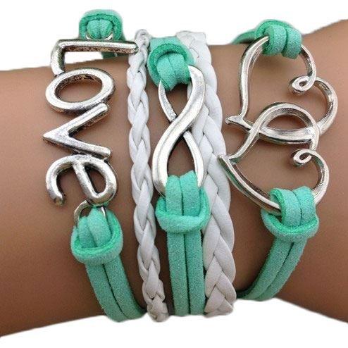 Bracciale braccialetto Infinito infinity Cuore love Karma amore tendenza fashion Multi fili