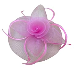 Womens Big Flower Mesh Feather Fascinator on Hair Clip and Brooch Pink