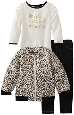 Calvin Klein Little Girls' Print Jacket With Tee And Black Jean, Animal, 4T