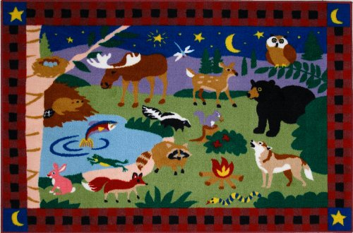 Roule Olive Kids Collection Camp Fire Friends 39X58 Inch Kids Area Rugs