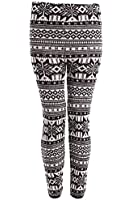 Winter Snowflake Print Womens Thick Knitted Fairisle Leggings Footless Tights Black Size 10