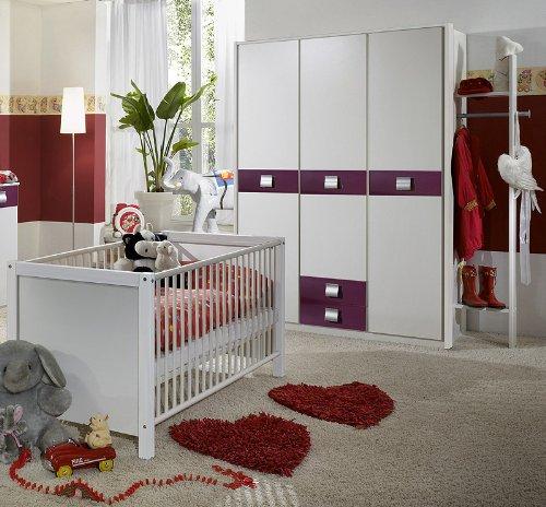 Babyzimmer »EMMA« 3-tlg in alpinweiß - brombeer