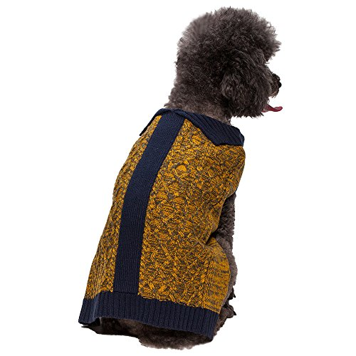 """Blueberry Pet 12"""" Back Length Clothes Cable Knit Dog Cardigan Style Sweater In Melange Gray And Goldenrod Medium front-165555"""