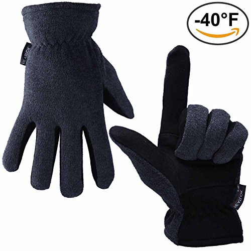 Skiing Gloves, OZERO -40ºF Cold Proof Thermal Glove - Deerskin Suede Leather Palm and Polar Fleece Back with Heatlok Insulated Cotton Layer - Keep Warm in Cold Weather - Gray - Small (Heat Gun Made In Usa compare prices)