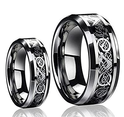His and Hers Tungsten Carbide Celtic Knot Dragon Design Carbon Fiber Inlay Band Set