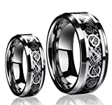 His & Her's 8MM/6MM Tungsten Carbide Celtic Knot Dragon Design Carbon Fiber Inlay Wedding Band Ring Set