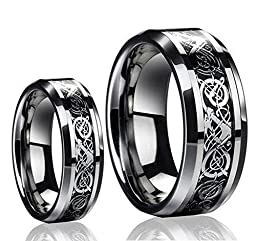 His & Her\'s 8MM/6MM Tungsten Carbide Celtic Knot Dragon Design Carbon Fiber Inlay Wedding Band Ring Set