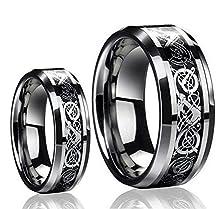 buy Men & Women'S 8Mm/6Mm Tungsten Carbide Celtic Knot Dragon Design Carbon Fiber Inlay Wedding Band Ring Set