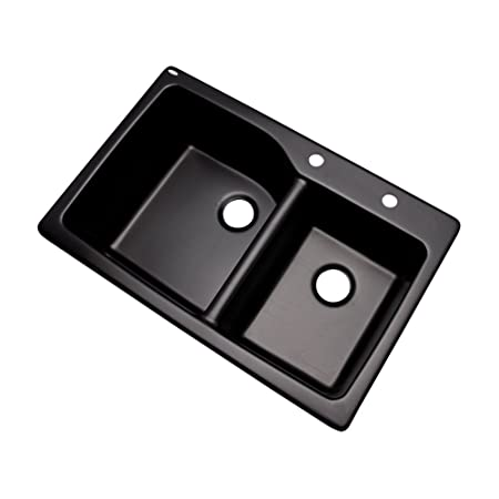 Dekor Sinks 62299Q Venti Composite Granite Double Bowl Kitchen Sink with Two Holes, 34.25-Inch, Black