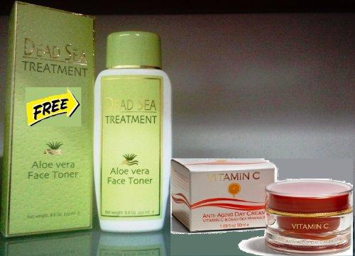Spa Cosmetics Sale Spa Cosmetics Anti Aging Sale Anti Aging Day Cream Moisturizing & Brightening Vitamin C Advanced Formula+ With Dead Sea Minerals 50 Ml + Dead Sea Treatment Aloe Vera Face Toner 8.8 Oz 250 Ml For Free!!!