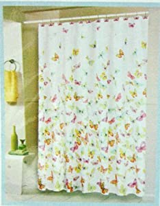 Butterfly Fabric Shower Curtain With Shower
