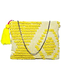 Diwaah Beautifully Handcrafted Casual Cotton Yellow Color Rug Zip Top With Zip (DWH000000840)