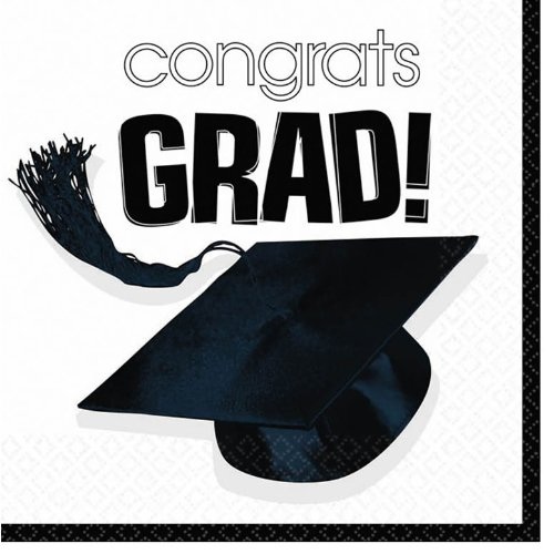 Amscan Congrats Grad White Graduation Lunch Napkins (36)